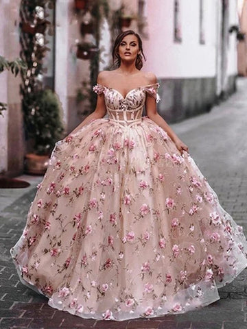 Off Shoulder Pink Floral Long Prom Dresses, Off the Shoulder Pink Formal Dresses, Pink Evening Dresses