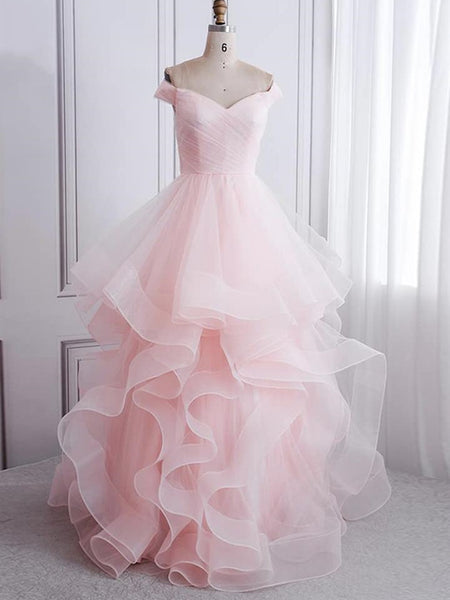 Off Shoulder Pink Long Prom Dresses, Fluffy Pink Formal Evening Dresses, Ball Gown