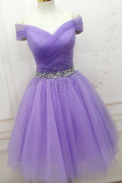 Off Shoulder Short Beaded Purple Prom Dresses, Off Shoulder Purple Formal Graduation Homecoming Dresses