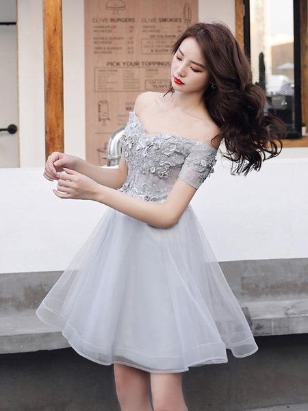 Off Shoulder Short Grey Lace Prom Dresses, Grey Lace Formal Graduation Homecoming Dresses