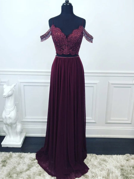 Off Shoulder Two Pieces Purple Lace Beaded Long Prom Dresses, 2 Pieces Purple Lace Formal Graduation Evening Dresses