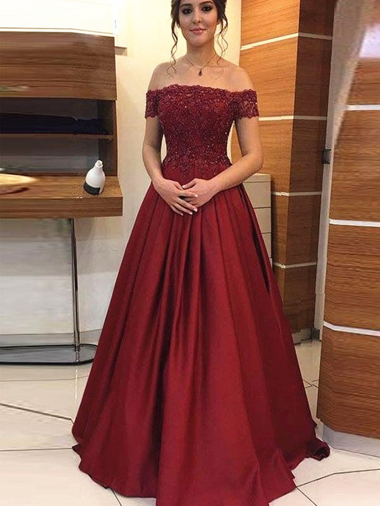 Off Shoulder Beaded Lace Burgundy Long Prom Dresses, Off the Shoulder Burgundy Formal Dresses, Burgundy Lace Evening Dresses