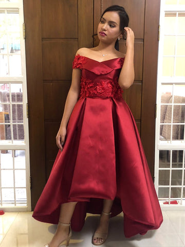 Off Shoulder High Low Satin Lace Burgundy Prom Dresses with Appliques, Burgundy Lace Formal Dresses, Homecoming Dresses, Graduation Dresses