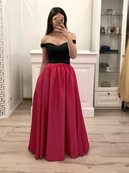 Off Shoulder Hot Pink Satin Black Top Long Prom Dresses with Pockets, Off Shoulder Formal Dresses Graduation Dresses Evening Dresses