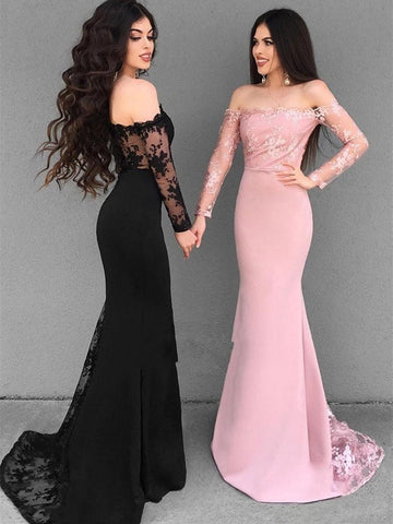 Off Shoulder Long Sleeves Mermaid Lace Black/Pink Prom Dresses, Lace Black Bridesmaid Dresses, Formal Dresses
