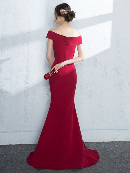 Off Shoulder Mermaid Burgundy/Navy Blue/Black Satin Long Prom Dresses with Slit, Burgundy/Navy Blue/Black Mermaid Formal Dresses, Evening Dresses