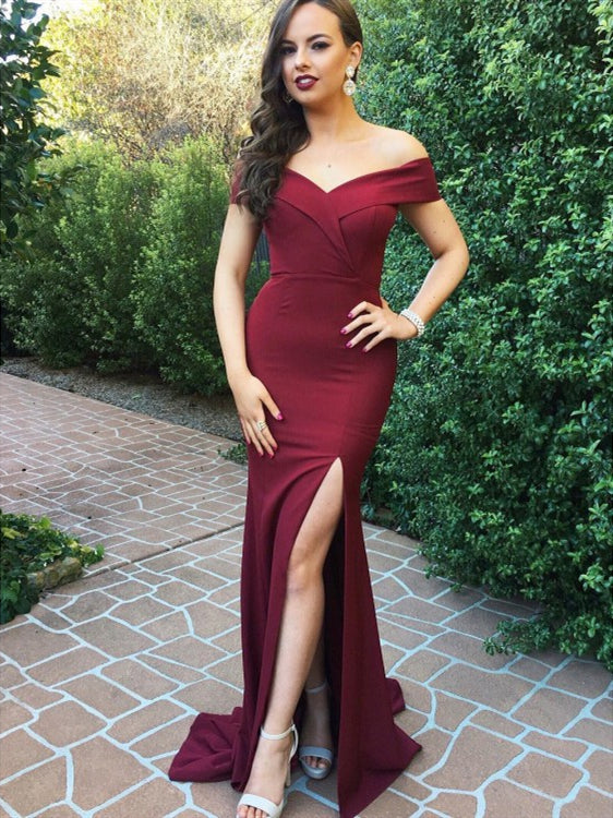 Off Shoulder Mermaid Burgundy Satin Long Prom Dresses with Side Leg Slit, Burgundy Mermaid Graduation Dresses, Bridesmaid Dresses