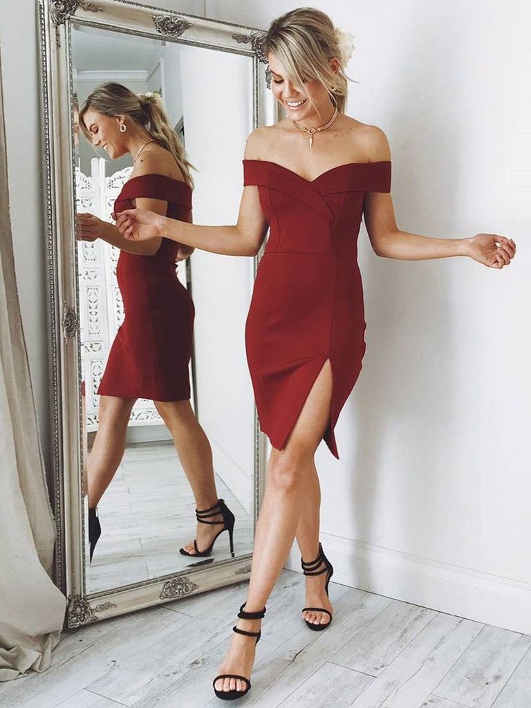 Off Shoulder Mermaid Burgundy Short Prom Dresses Homecoming Dresses with Split, Off Shoulder Burgundy Formal Dresses, Evening Dresses 2019