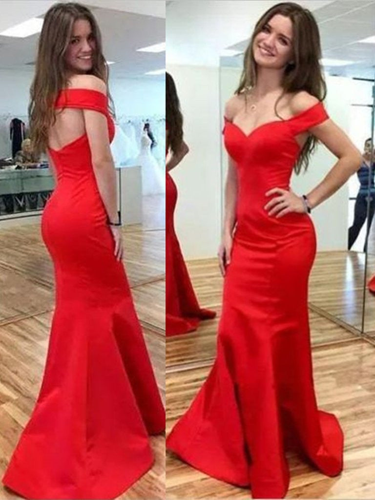 4c6cc907f84c Off Shoulder Mermaid Red Prom Dresses, Red Off Shoulder Graduation Dre –  Shiny Party