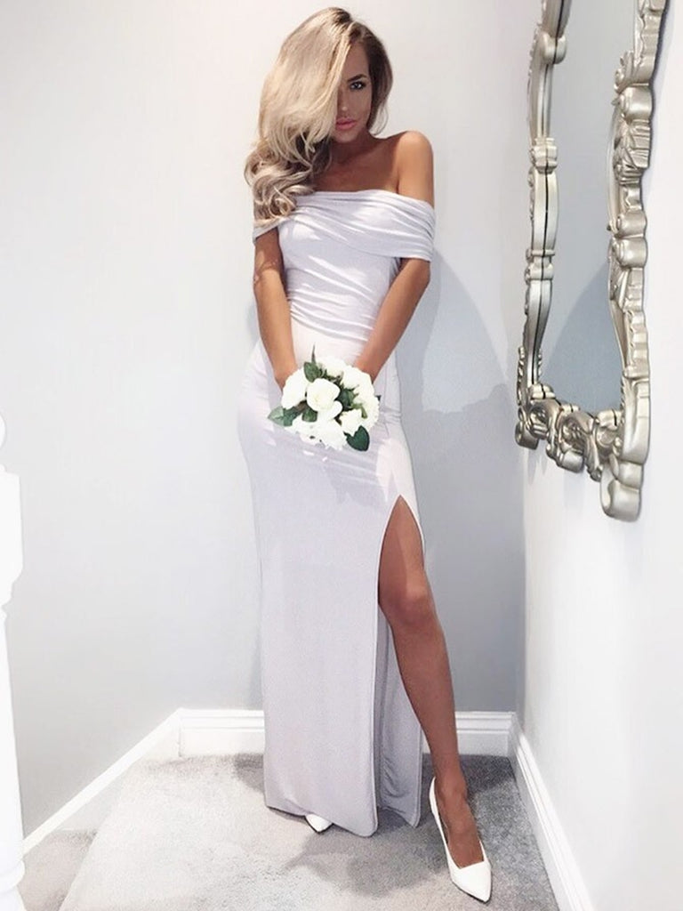 Off Shoulder Mermaid White Bridesmaid Dresses, Off Shoulder White Prom Dresses with Slit, Mermaid White Formal Graduation Evening Dresses