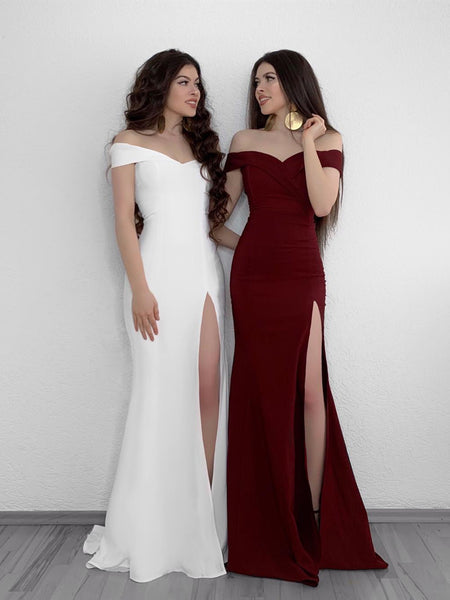 Off Shoulder Mermaid White/Burgundy Prom Dresses with Side High Slit, Off Shoulder White/Burgundy Bridesmaid Dresses, Graduation Dresses