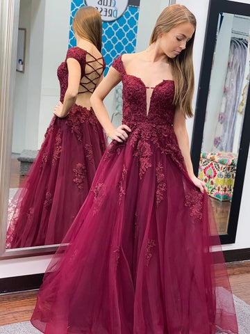 Off Shoulder Open Back Burgundy Lace Prom Dresses 2020, Cap Sleeves Maroon Lace Formal Dresses, Burgundy Lace Evening Dresses