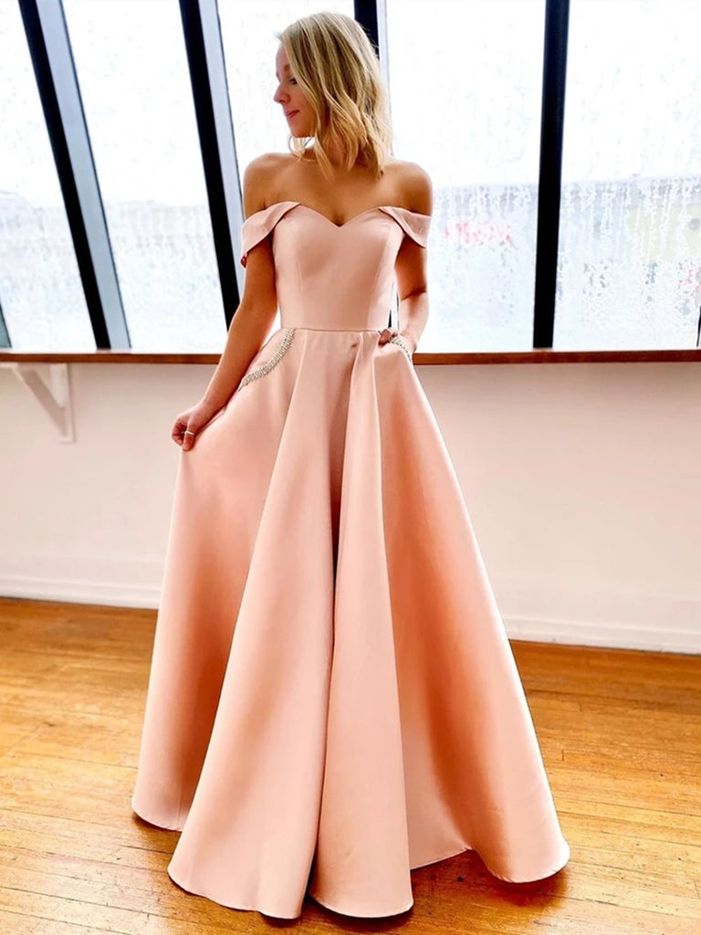 Off Shoulder Pink Long Prom Dresses with Pocket, Off the Shoulder Pink Formal Dresses, Pink Evening Dresses