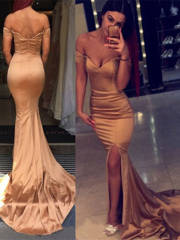 Off Shoulder Satin Mermaid Backless Rose Golden Prom Dresses With Slit, Off Shoulder Mermaid Formal Dresses