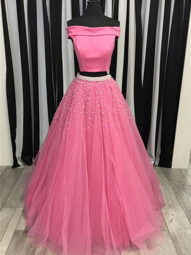 Off Shoulder Two Piece Beading Pink/Sky Blue Prom Dresses, Two Piece Pink/Sky Blue Formal Dresses, Two Piece Long Evening Dresses
