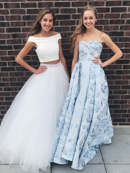Off Shoulder Two Pieces Beaded Long White Prom Dresses with Beading, Off Shoulder White Formal Dresses, Two Pieces White Evening Dresses
