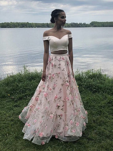Off Shoulder Two Pieces Floor Length Appliques Pink Prom Dresses, Off Shoulder Pink Formal Dresses, Pink Evening Dresses