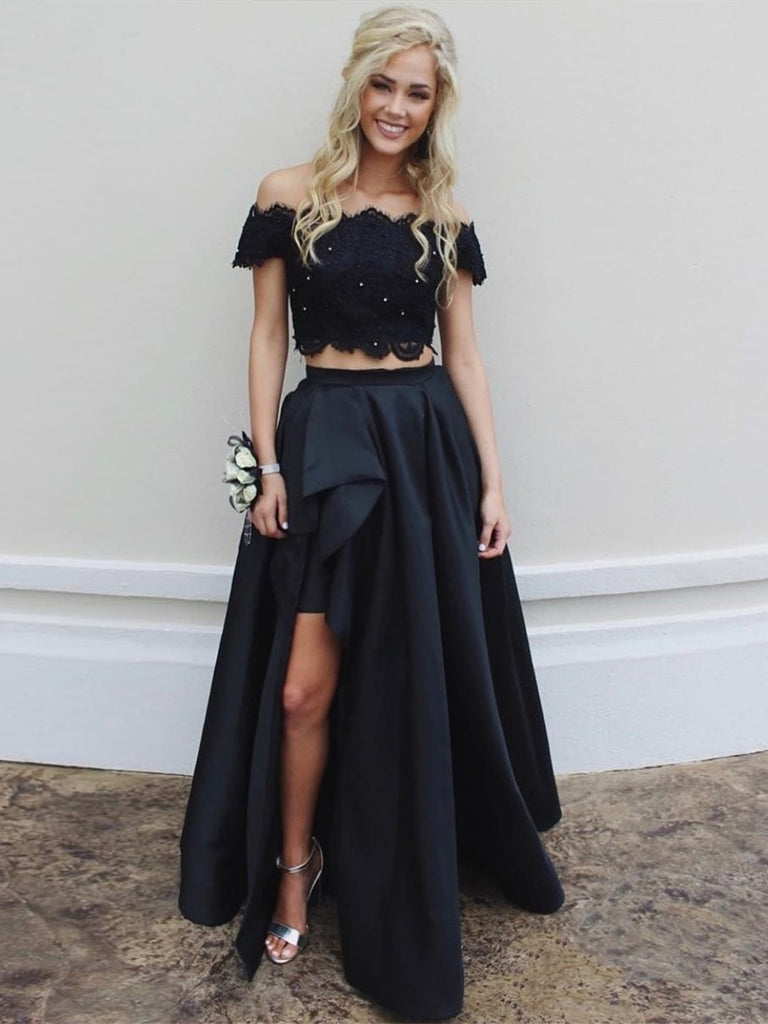 Off Shoulder Two Pieces Lace Top Long Black Prom Dresses with Split, High-Low Two Pieces Lace Black Formal Dresses, Black Lace Evening Dresses