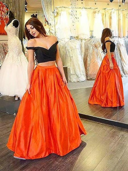 Off Shoulder Two Pieces Orange Prom Dress, Off Shoulder Green Prom Dress