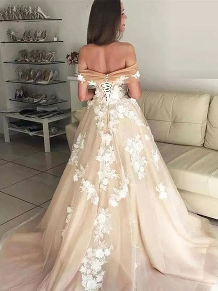 Off Shoulder White Lace Appliques Champagne Prom Dresses Wedding Dresses, Off Shoulder Champagne Formal Dresses, Champagne Evening Dresses