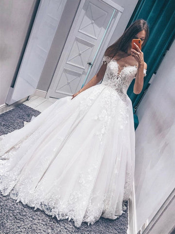 Off Shoulder White Lace Appliques Long Wedding Dresses, Off the Shoulder White Lace Prom Dresses, White Formal Evening Dresses