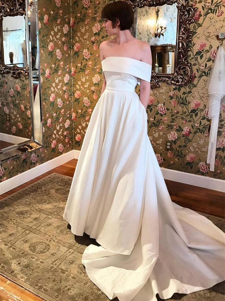 Off Shoulder White Satin Long Prom Dresses with Train, Off Shoulder White Wedding Dresses, White Formal Dresses, Evening Dresses