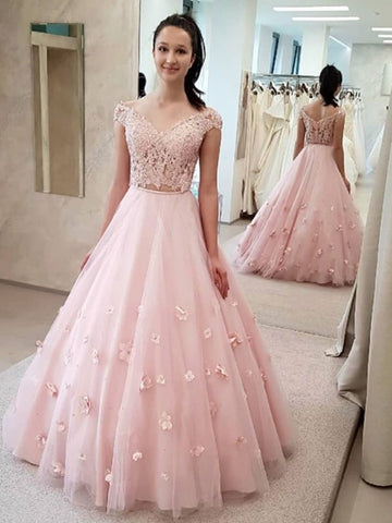 Off the Shoulder 2 Pieces Pink Lace Prom Dresses with 3D Flowers, Off Shoulder Pink Lace Formal Dresses, Two Pieces Pink Lace Evening Dresses