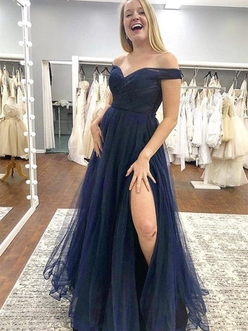 Off the Shoulder Blue Tulle Long Prom Dresses with Slit, Off Shoulder Blue Formal Graduation Evening Dresses
