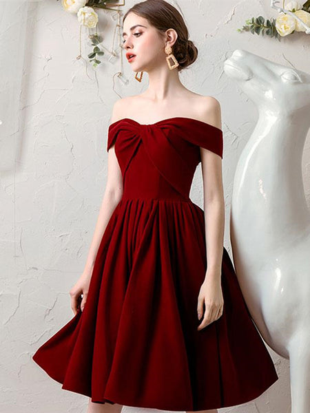 Off the Shoulder Burgundy Short Prom Dresses, Off Shoulder Burgundy Homecoming Dresses, Burgundy Formal Graduation Evening Dresses