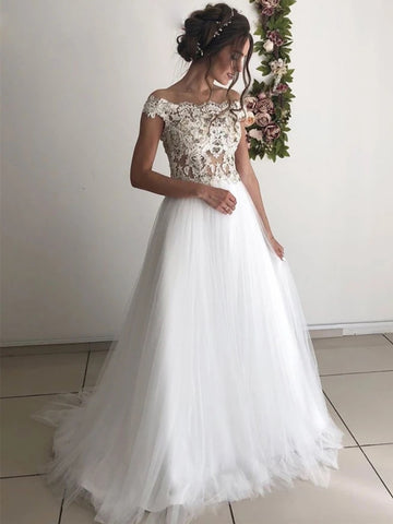 Off the Shoulder Round Neck White Lace Wedding Dresses, Off Shoulder White Lace Long Prom Formal Evening Dresses