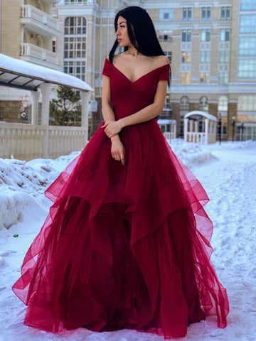 Off the Shoulder V Neck Burgundy Long Prom Dresses 2020, Off Shoulder Burgundy Formal Dresses, Fluffy Burgundy Evening Dresses