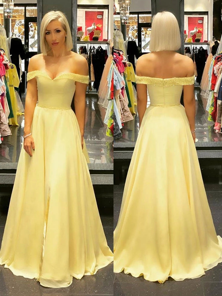 Off the Shoulder Yellow Long Prom Dresses with Beading, Off Shoulder Yellow Formal Graduation Evening Dresses