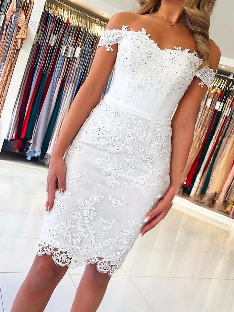 Off the Shoulder Mermaid Short White Lace Prom Dresses, Off Shoulder Short White Lace Formal Graduation Homecoming Dresses