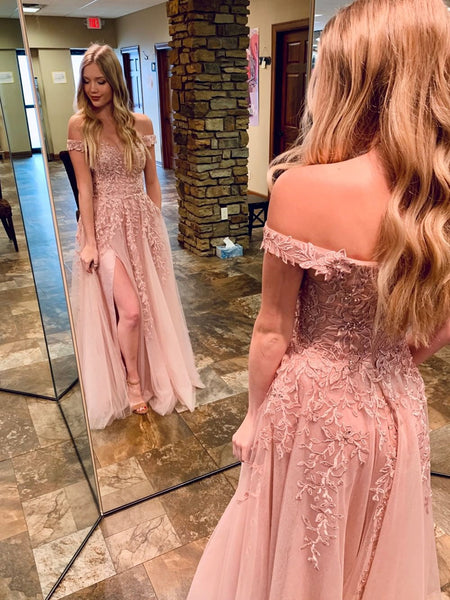 Off the Shoulder Pink Lace Long Prom Dresses, Off Shoulder Pink Formal Dresses, Pink Lace Evening Dresses