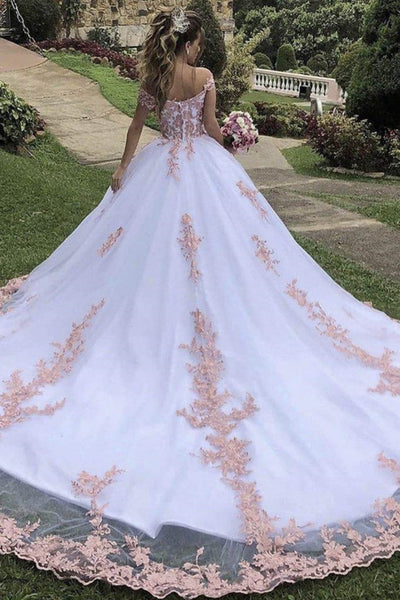 Off the Shoulder White Lace Long Prom Dresses, Off Shoulder White Lace Formal Evening Dresses, White Ball Gown