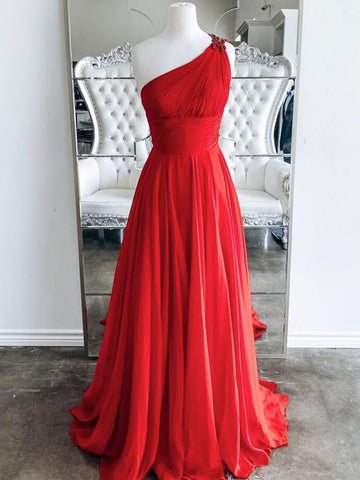 One Shoulder Backless Red Chiffon Long Prom Dresses, One Shoulder Red Formal Evening Dresses