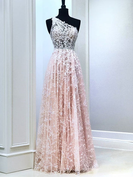 One Shoulder Pink Lace Long Prom Dresses, Long Pink Lace Formal Graduation Evening Dresses