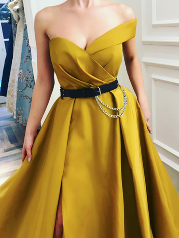 One Shoulder Canary Yellow Ball Gown with Leg Slit, Canary Yellow Long Prom Dresses with Black Belt, Formal Dresses