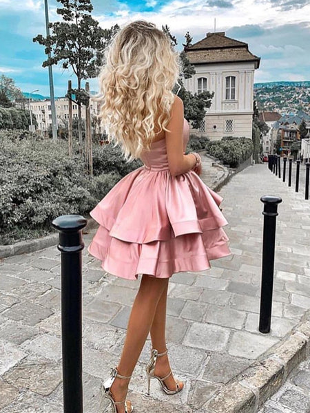 One Shoulder Layered Pink Short Prom Dresses, Pink Layered Homecoming Dresses, Pink Formal Dresses, Evening Dresses