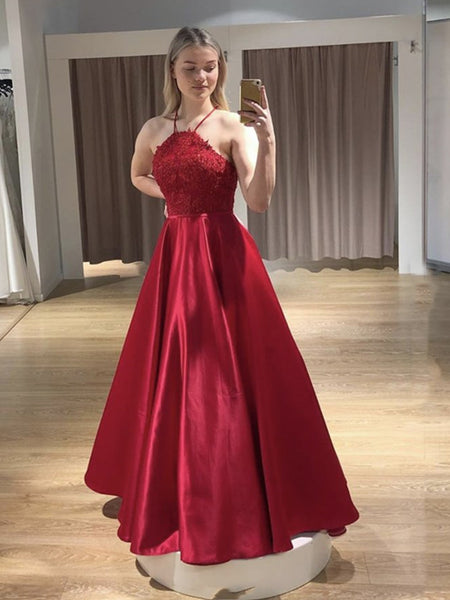 Open Back Floor Length Long Red Lace Prom Dresses with Straps, Backless Red Lace Formal Graduation Evening Dresses