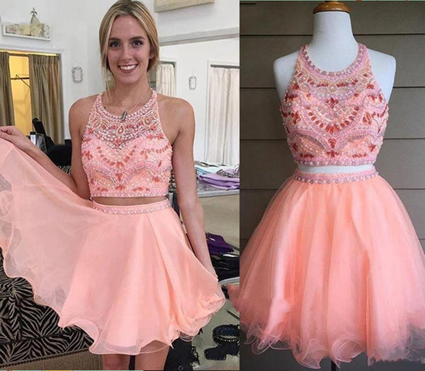 Custom Made A Line 2 Pieces Round Neck Short Pink Prom Dresses, 2 Pieces Short Pink Homecoming Dresses, Graduation Dresses