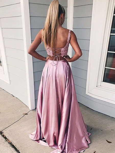 Pink 2 Pieces Lace Satin Long Prom Dresses with Side High Slit, 2 Pieces Pink Formal Evening Dresses, 2 Pieces Lace Pink Graduation Dresses with Cross Back