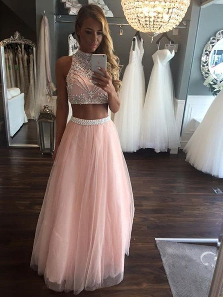 Pink A Line High Neck Two Pieces Beading Tulle Long Prom Dresses, Two Pieces Pink Formal Dresses, Evening Dresses