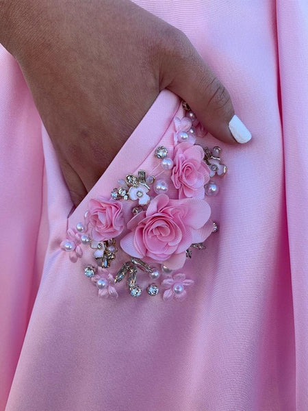 Pink A Line Satin Floral Long Prom Dresses with Pockets, Floral Pink Formal Graduation Evening Dresses