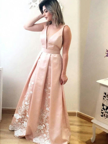 Pink A Line V Neck Floor Length Lace Appliques Pleated Satin Long Prom Dresses, V Neck Pink Formal Graduation Evening Dresses