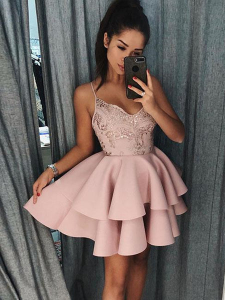 Pink Cute Lace Layered Short Prom Dresses, Layered Homecoming Dresses, Pink Graduation Dresses