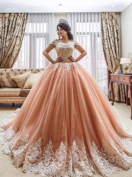 Pink Off Shoulder Lace Prom Dresses, Pink Lace Prom Gown, Evening Dresses