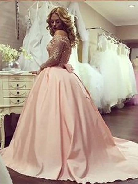 Pink Off Shoulder Long Sleeves Satin Beaded Long Ball Gown, Pink Prom Dresses, Formal Dresses