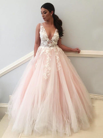 Pink V Neck Backless Lace Appliques Tulle Long Prom Dresses, V Neck Pink Lace Ball Gown, Pink Formal Dresses, Pink Lace Evening Dresses