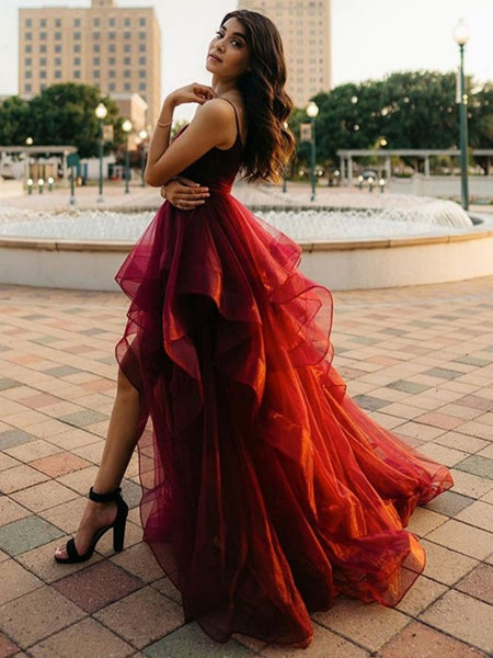 Pretty High Low Burgundy Long Prom Dresses, Wine Red High Low Formal Dresses, Fluffy Burgundy Evening Dresses